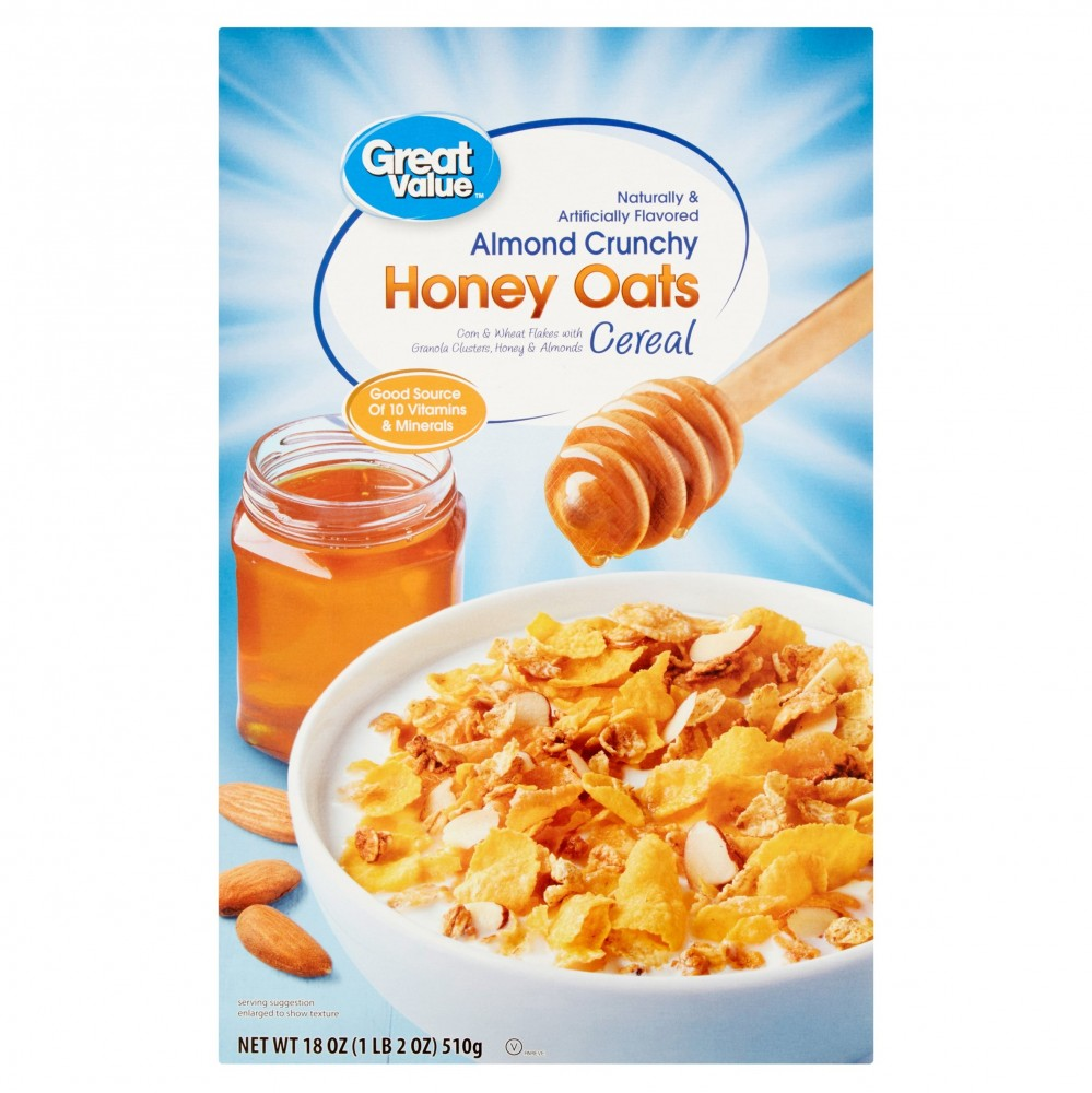 Cereal (Great Value Breakfast Cereal, Almond Honey Oats