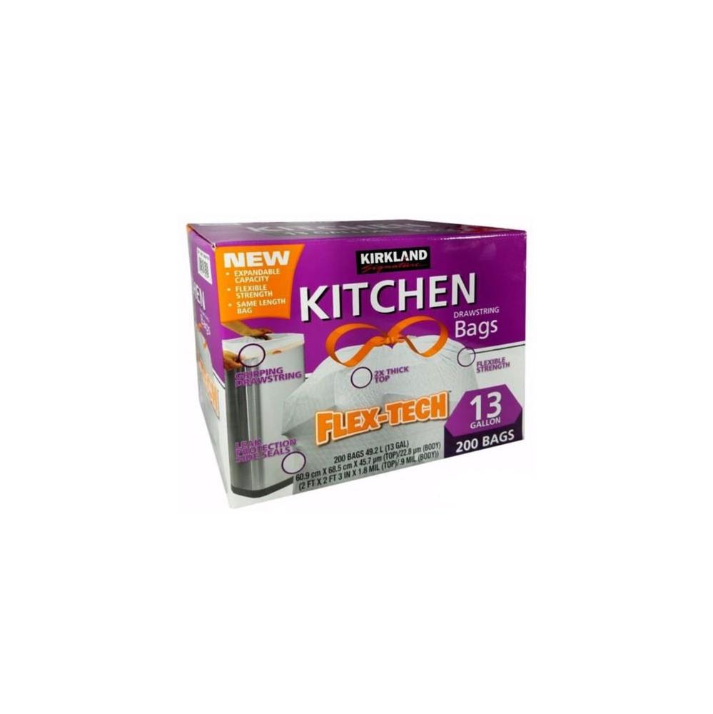 Kirkland Signature Flex-Tech 13 Gallon White Kitchen Bags 200 Count